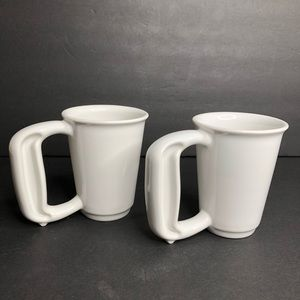 2 Jamber USA White Easy to Hold 12oz Mugs NEW